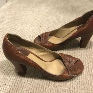 Chloe ~ 3 inch brown open toe leather heels